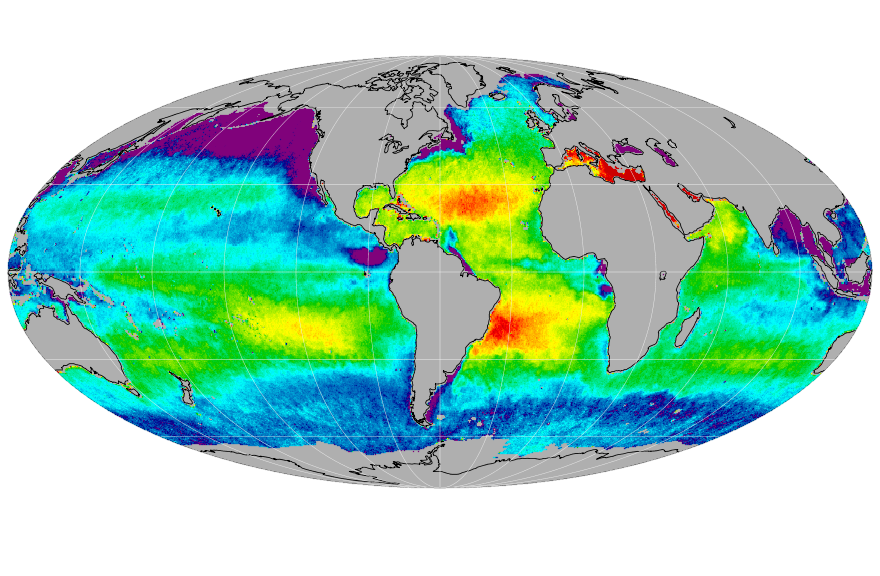 Sea surface salinity, March 2017
