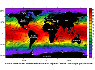 Global sea surface temperature values
